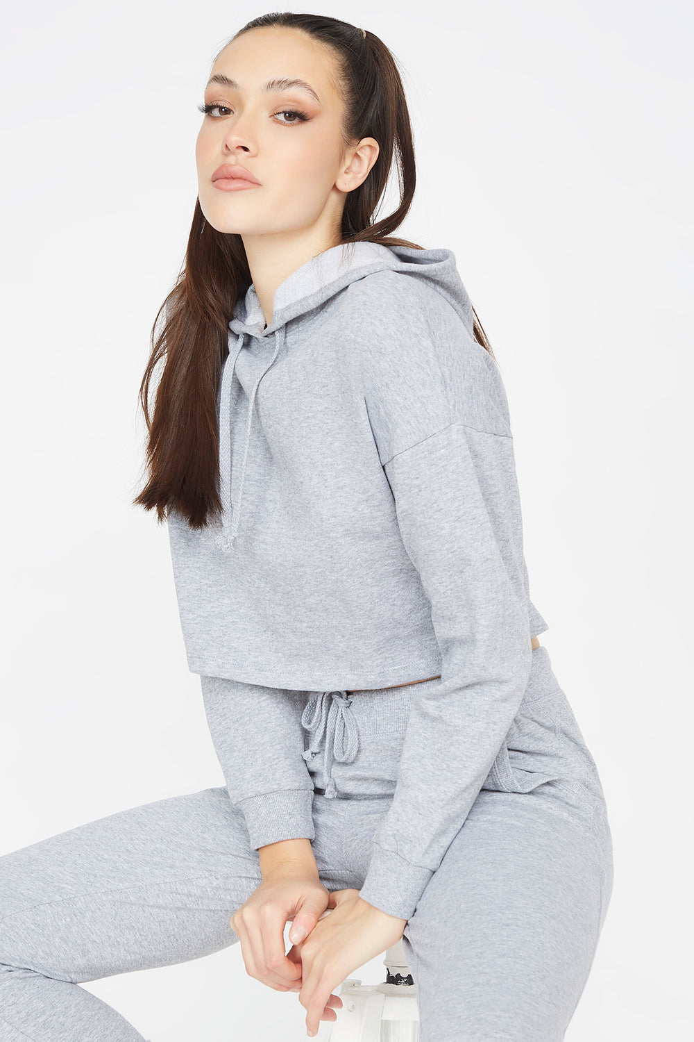 Cropped Popover Hoodie Heather Grey