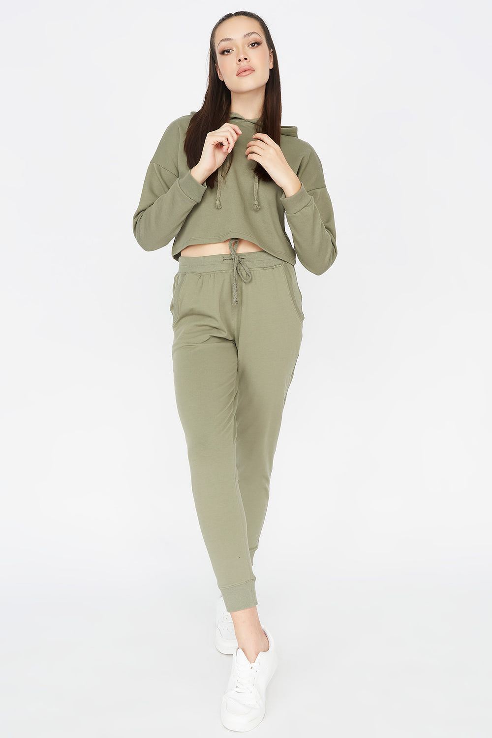 Cropped Popover Hoodie Hunter Green