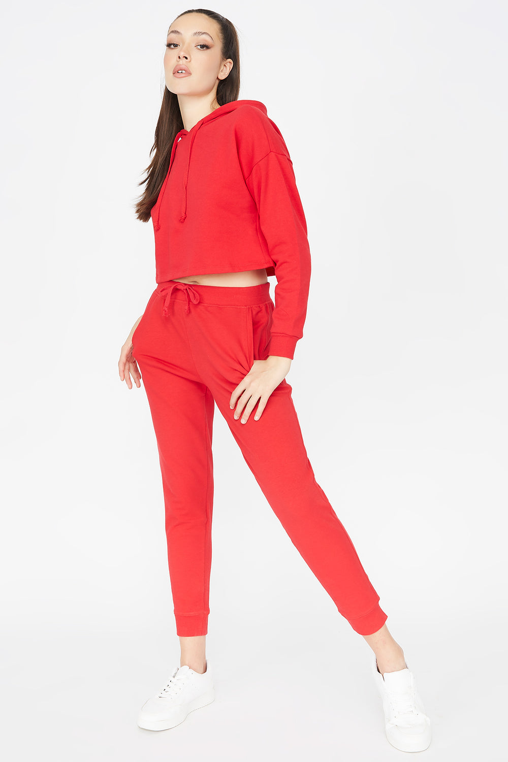 Cropped Popover Hoodie Bright Red