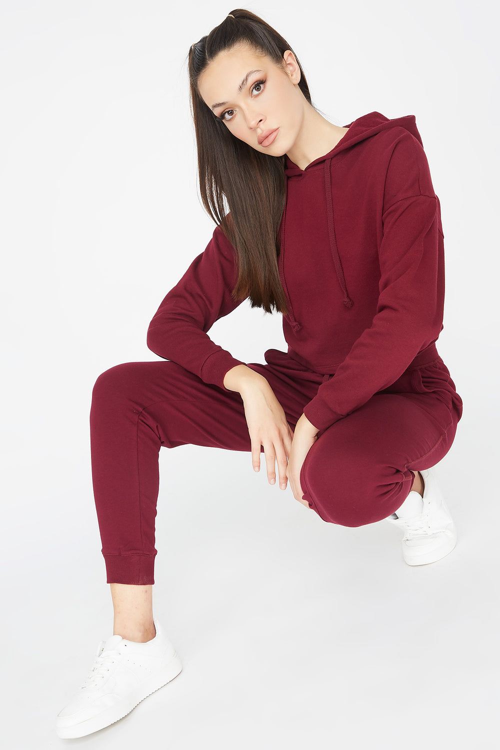 Cropped Popover Hoodie Burgundy
