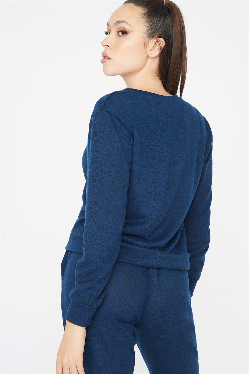 Criss-Cross Hem Boyfriend Sweatshirt Navy