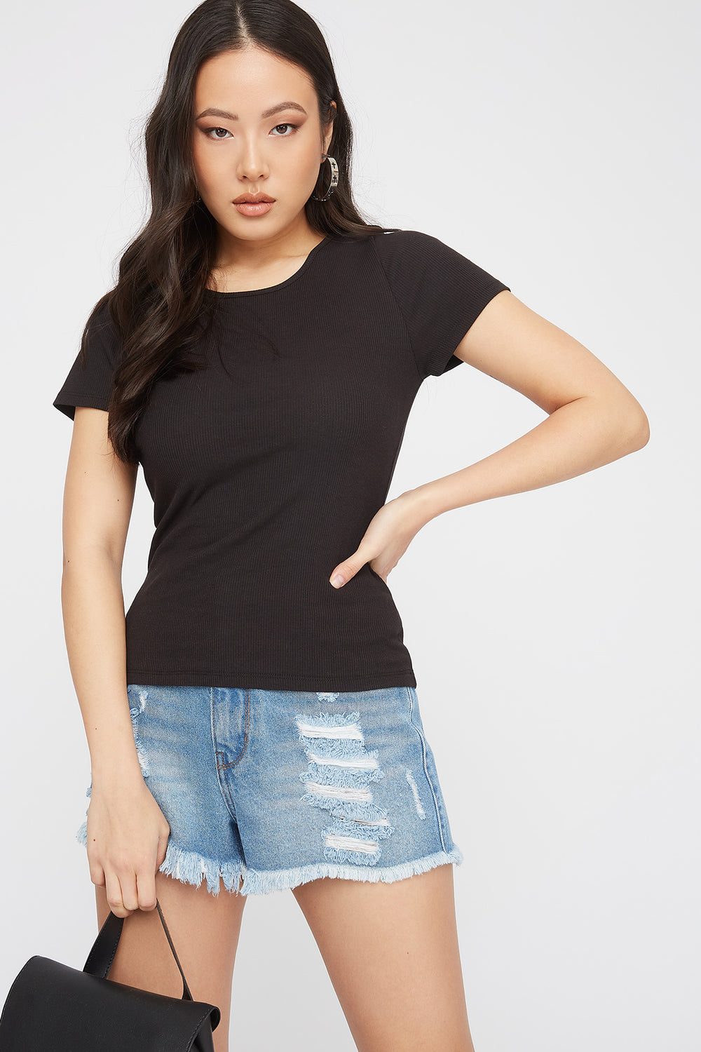 Ribbed Crochet Lace-Up Back T-Shirt Black