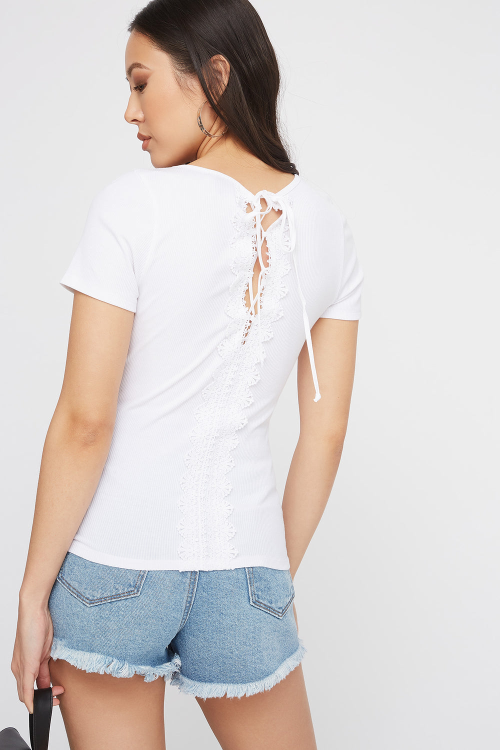Ribbed Crochet Lace-Up Back T-Shirt White