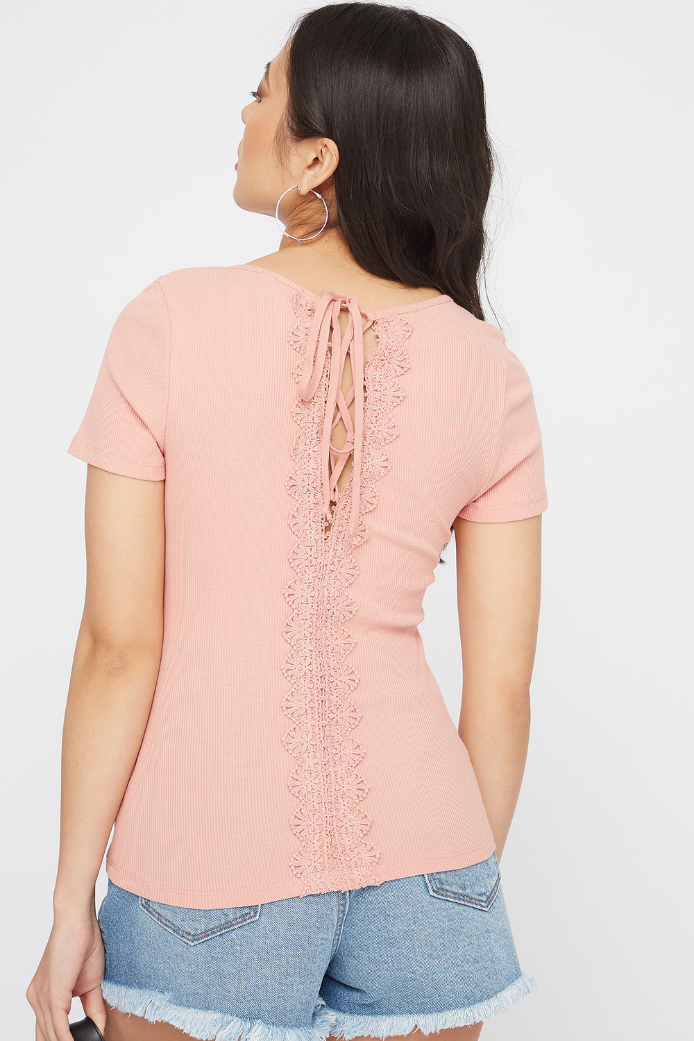 Ribbed Crochet Lace-Up Back T-Shirt Mauve