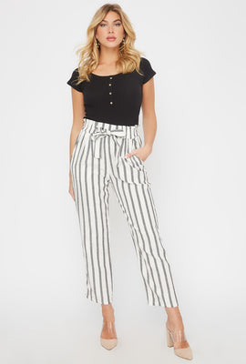 Cropped Striped Self Tie Paperbag Linen Pant