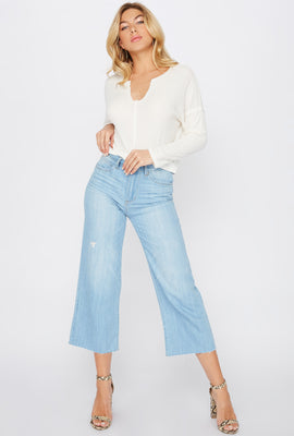 Jean « mom » culotte à jambe large avec ourlet brut