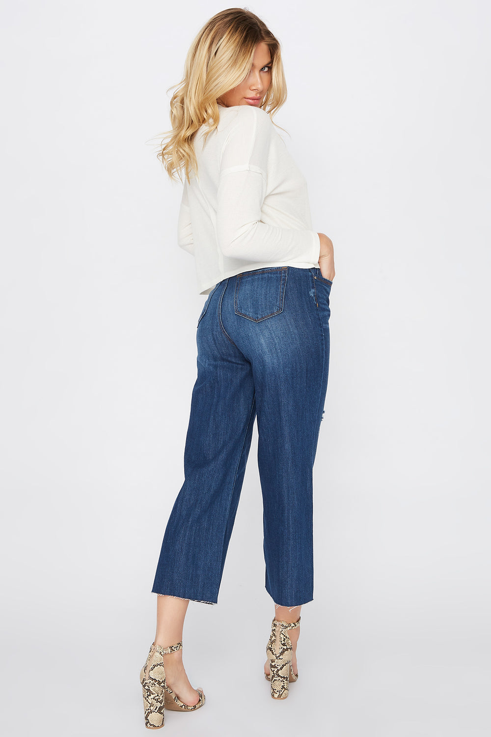 Raw Hem Wide Leg Culotte Mom Jean Denim Blue