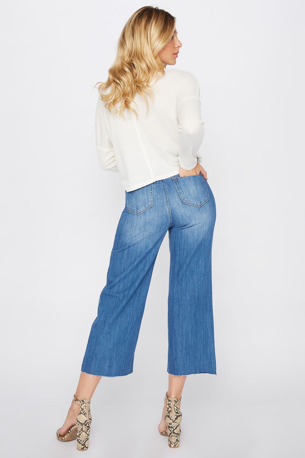 Raw Hem Wide Leg Culotte Mom Jean Medium Blue