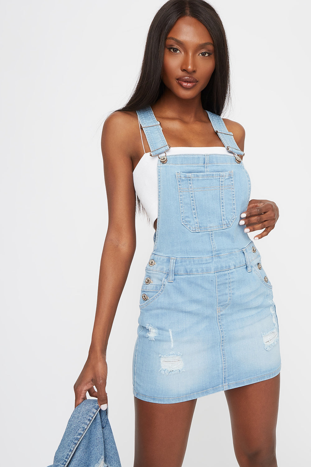 Distressed Overall Dress Light Denim Blue