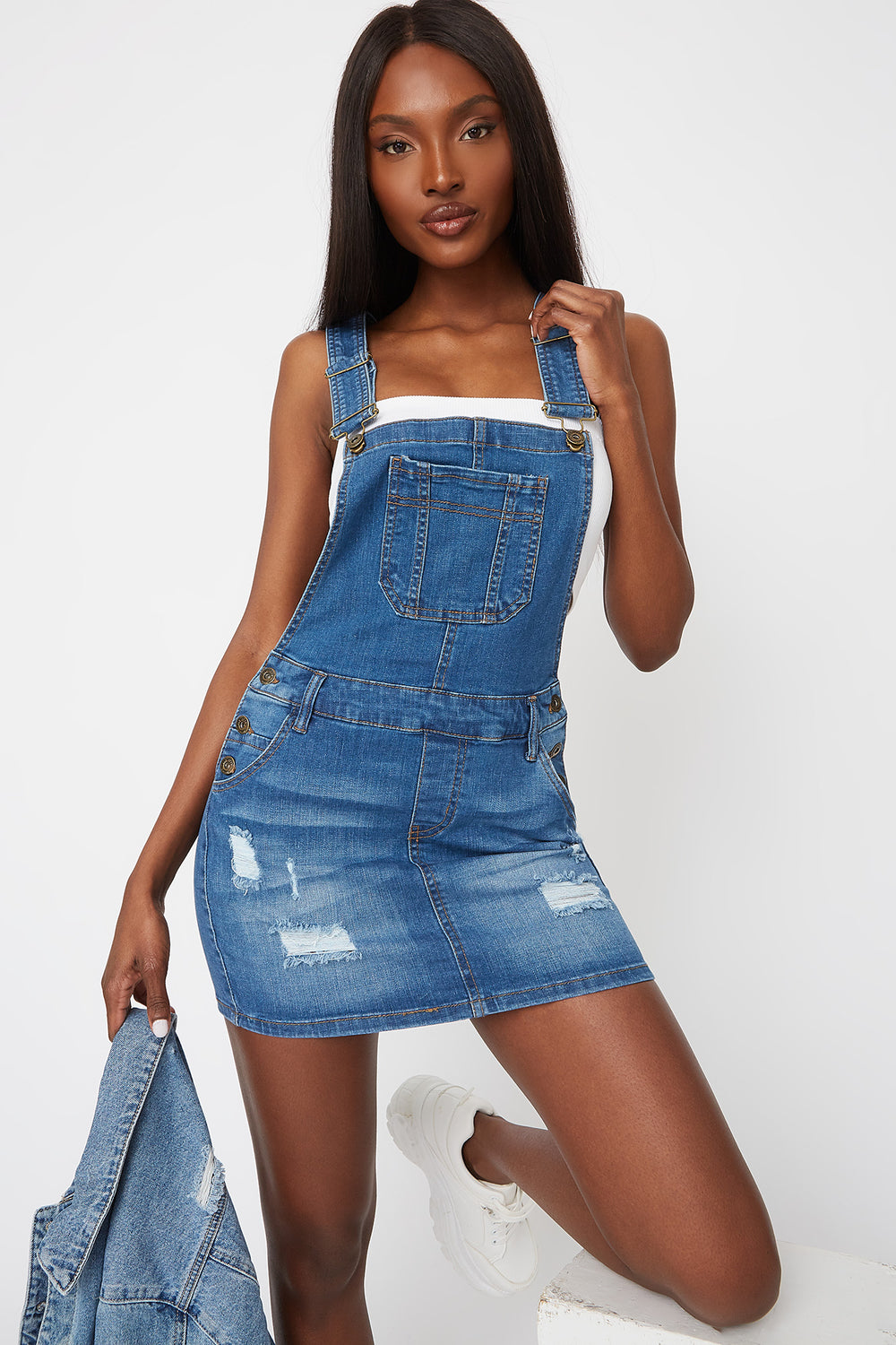 Distressed Overall Dress Medium Blue