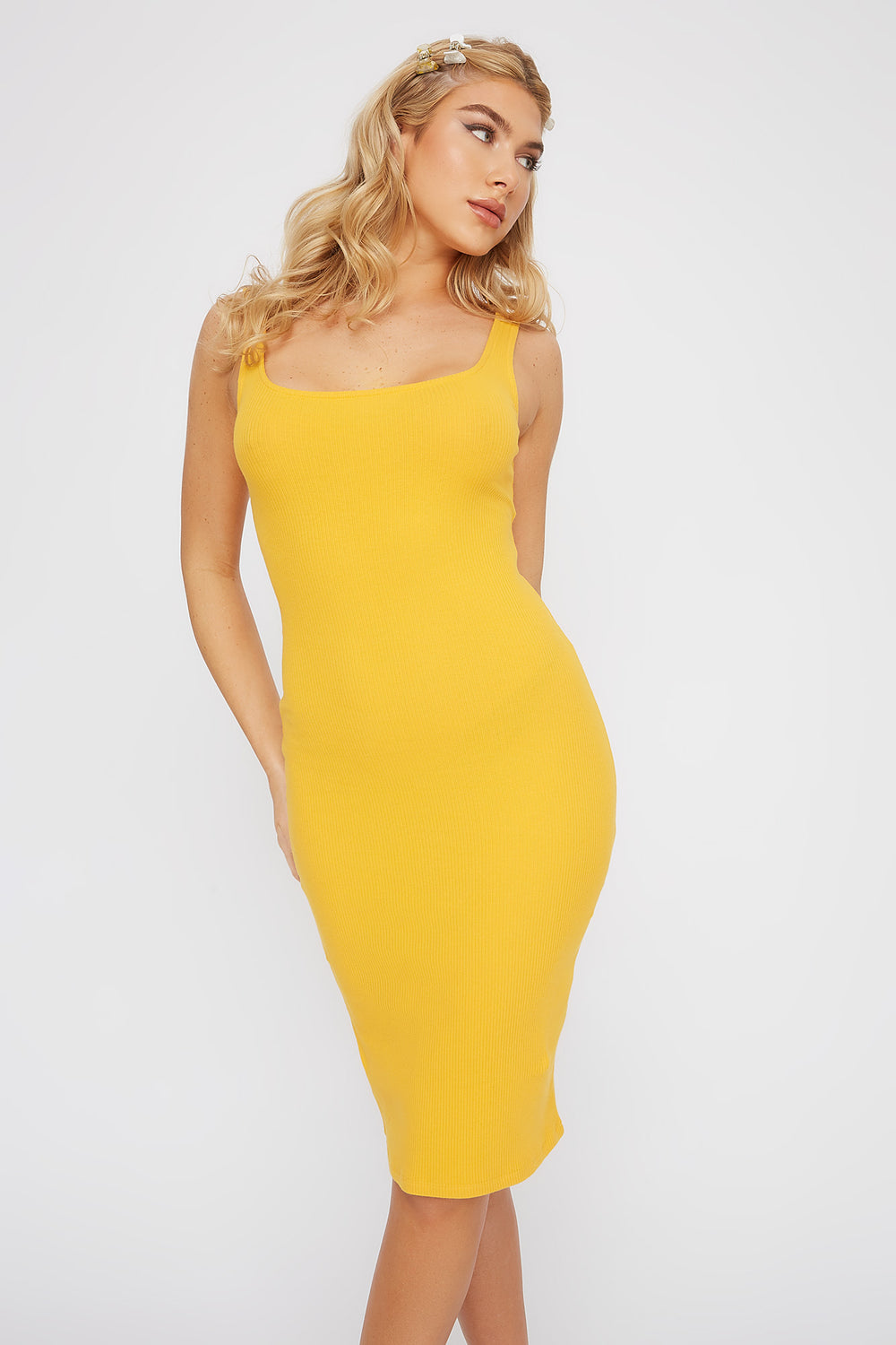 Ribbed Scoop Neck Mini Tank Dress Mustard