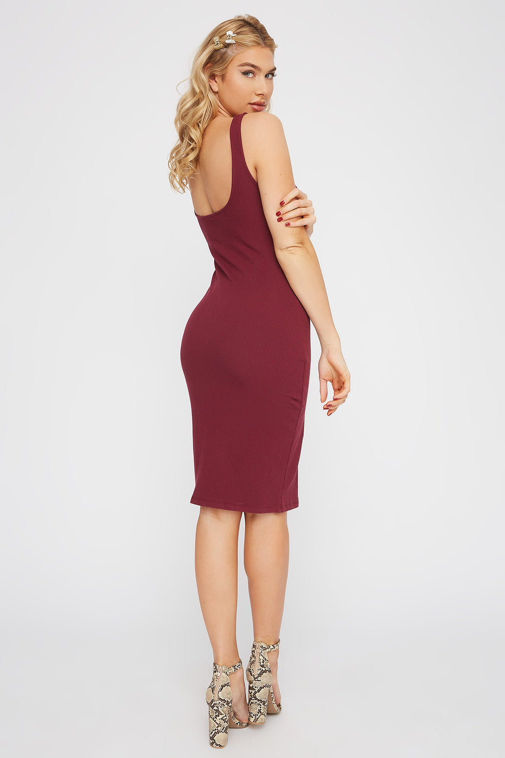 Ribbed Scoop Neck Mini Tank Dress Burgundy