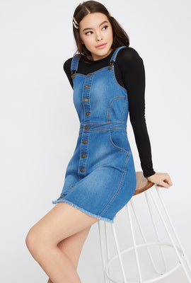 Raw Hem Denim Overall Dress