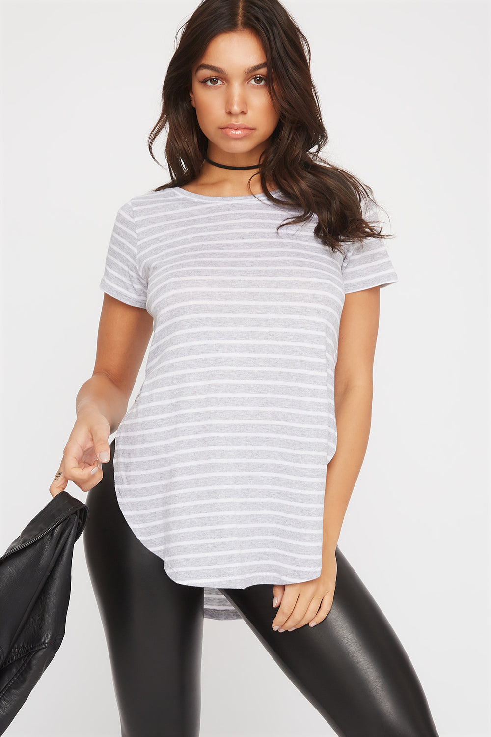 Relaxed Striped Curve Hem  T-Shirt Heather Grey