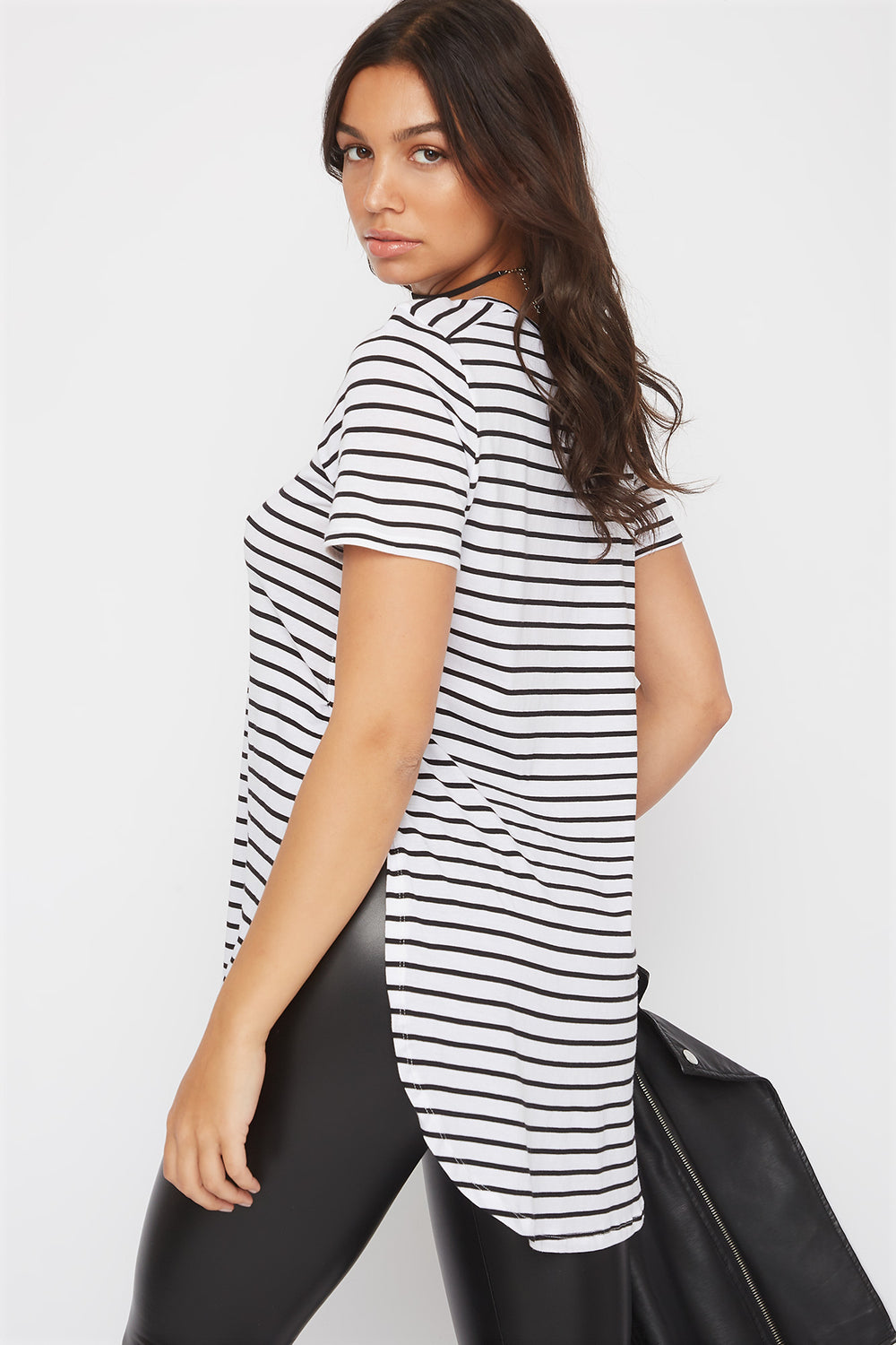 Relaxed Striped Curve Hem  T-Shirt White