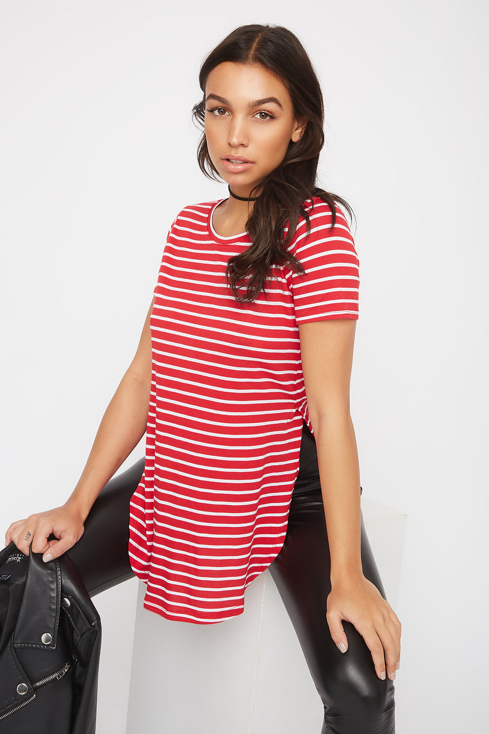 Relaxed Striped Curve Hem  T-Shirt Red