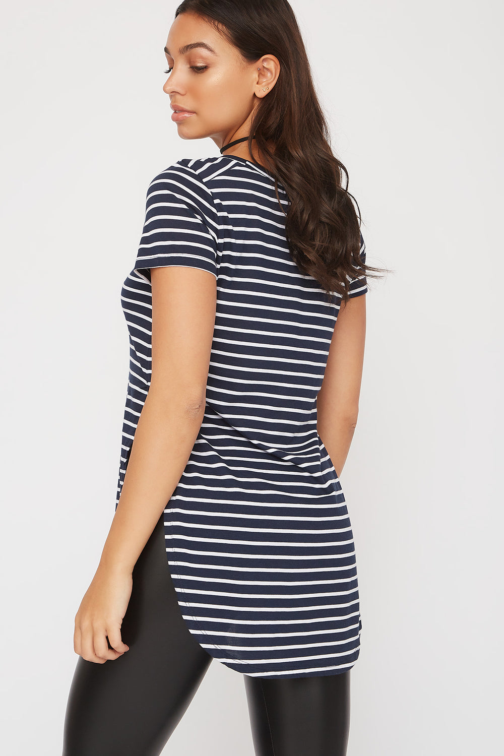 Relaxed Striped Curve Hem  T-Shirt Navy Blue