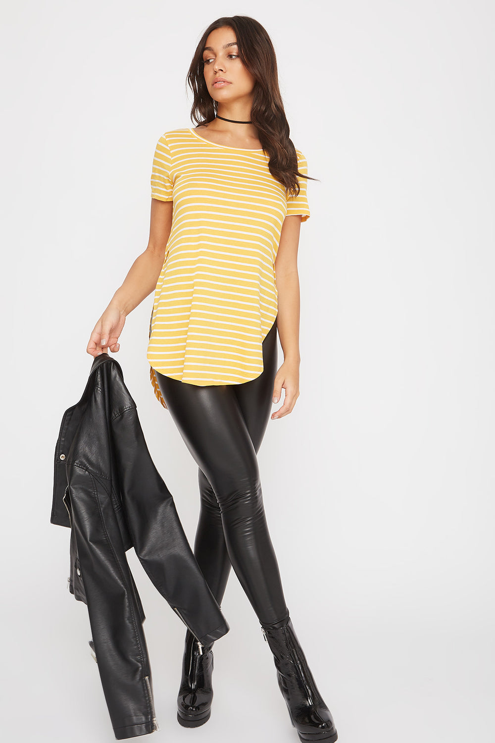 Relaxed Striped Curve Hem  T-Shirt Mustard