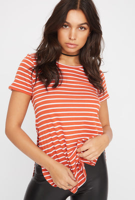 Relaxed Striped Curve Hem  T-Shirt