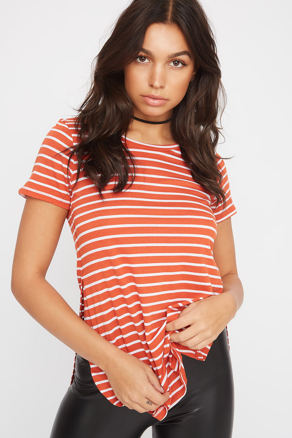 Relaxed Striped Curve Hem  T-Shirt Rust