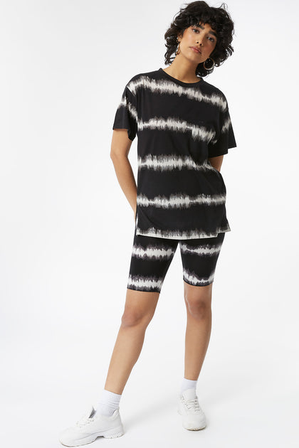 Oversized Striped Black Tie-Dye T-Shirt