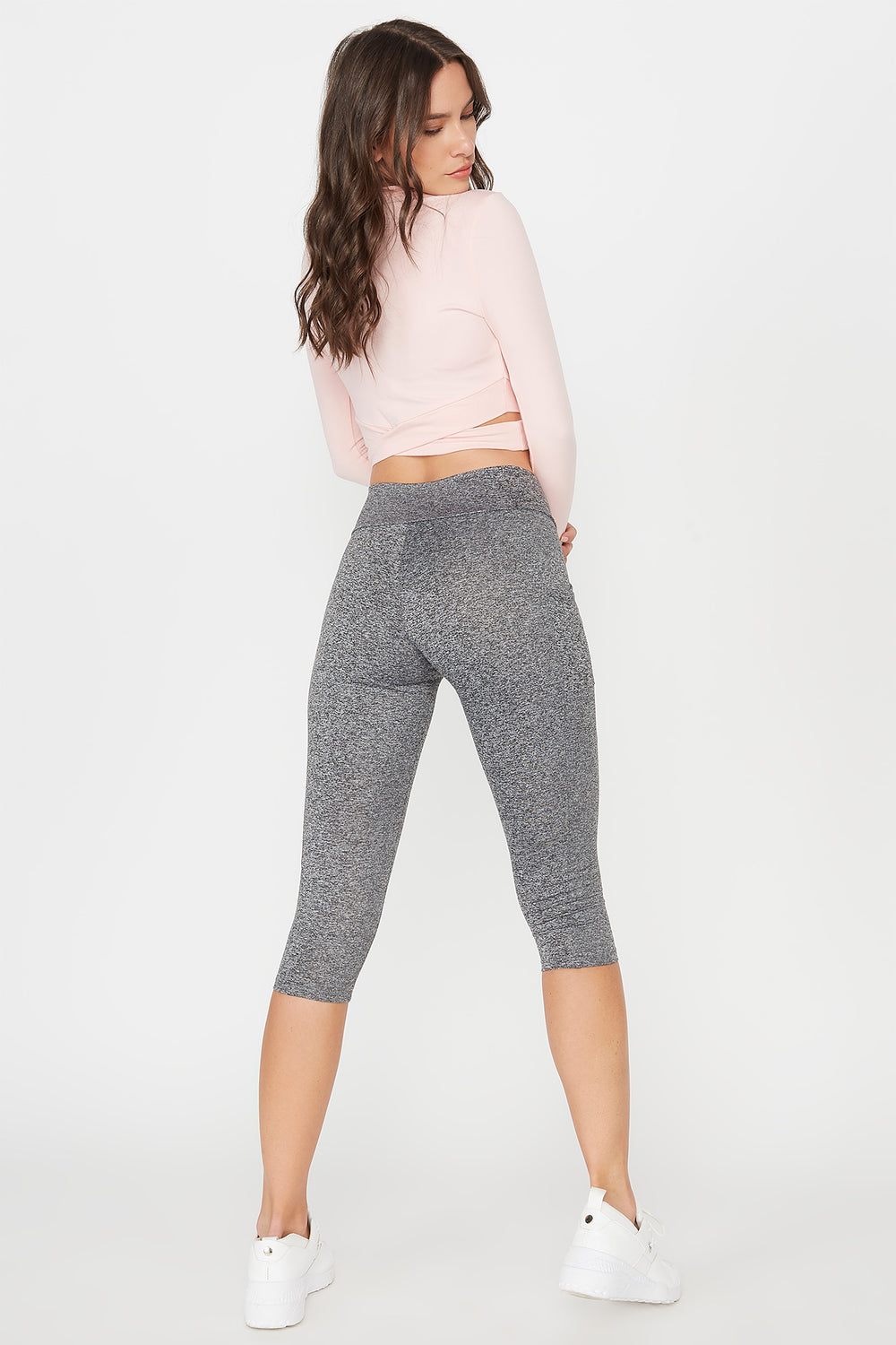 Grey High-Rise Fitted Cropped Active Legging Heather Grey