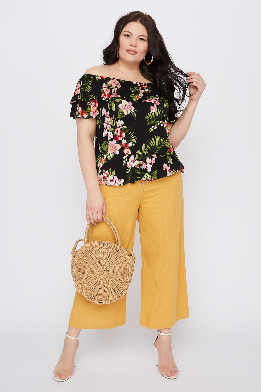 Plus Size Floral Off The Shoulder Flounce Top Black