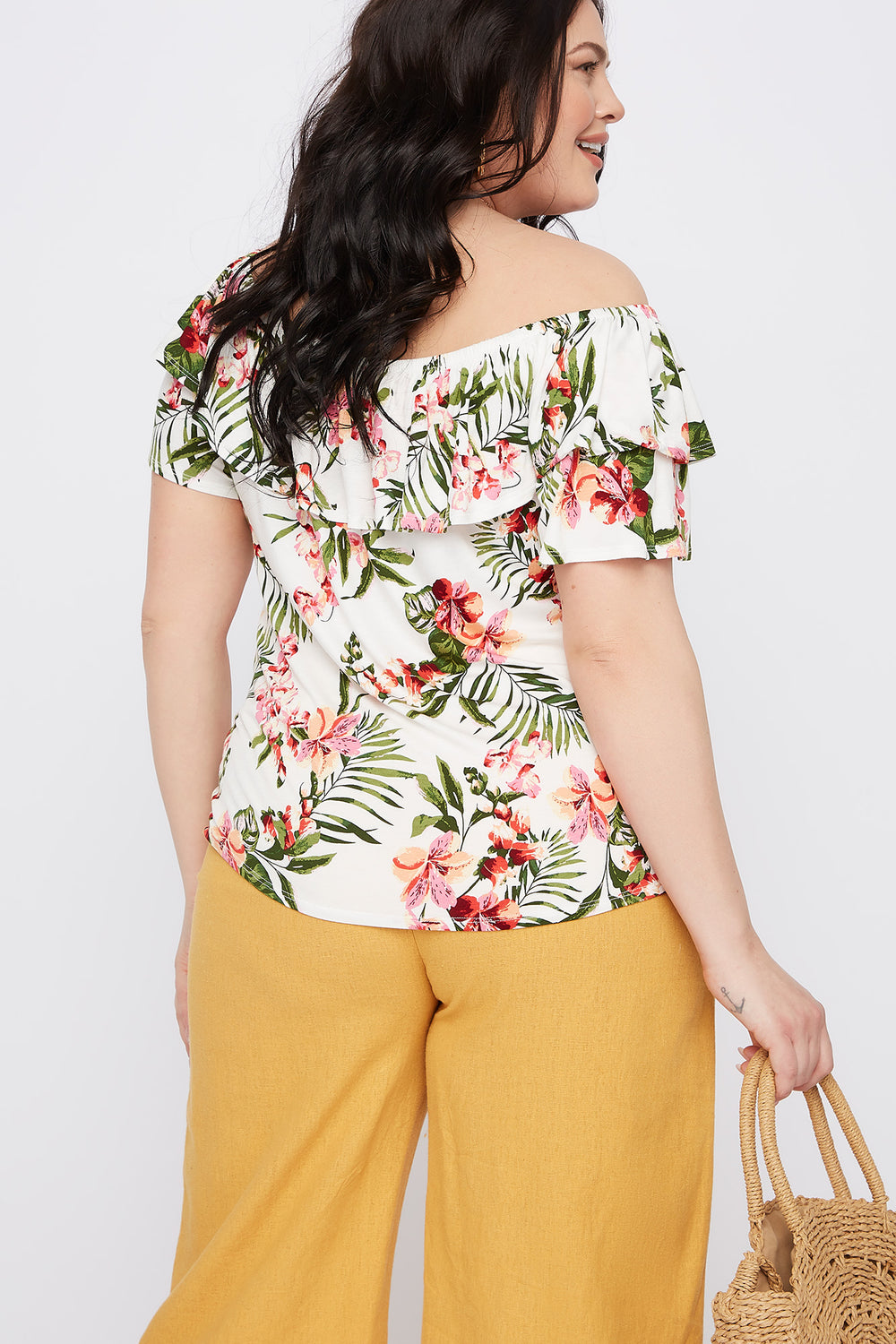 Plus Size Floral Off The Shoulder Flounce Top Off White