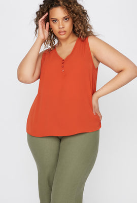 Plus Size V-Neck Button Front High-Low Tank