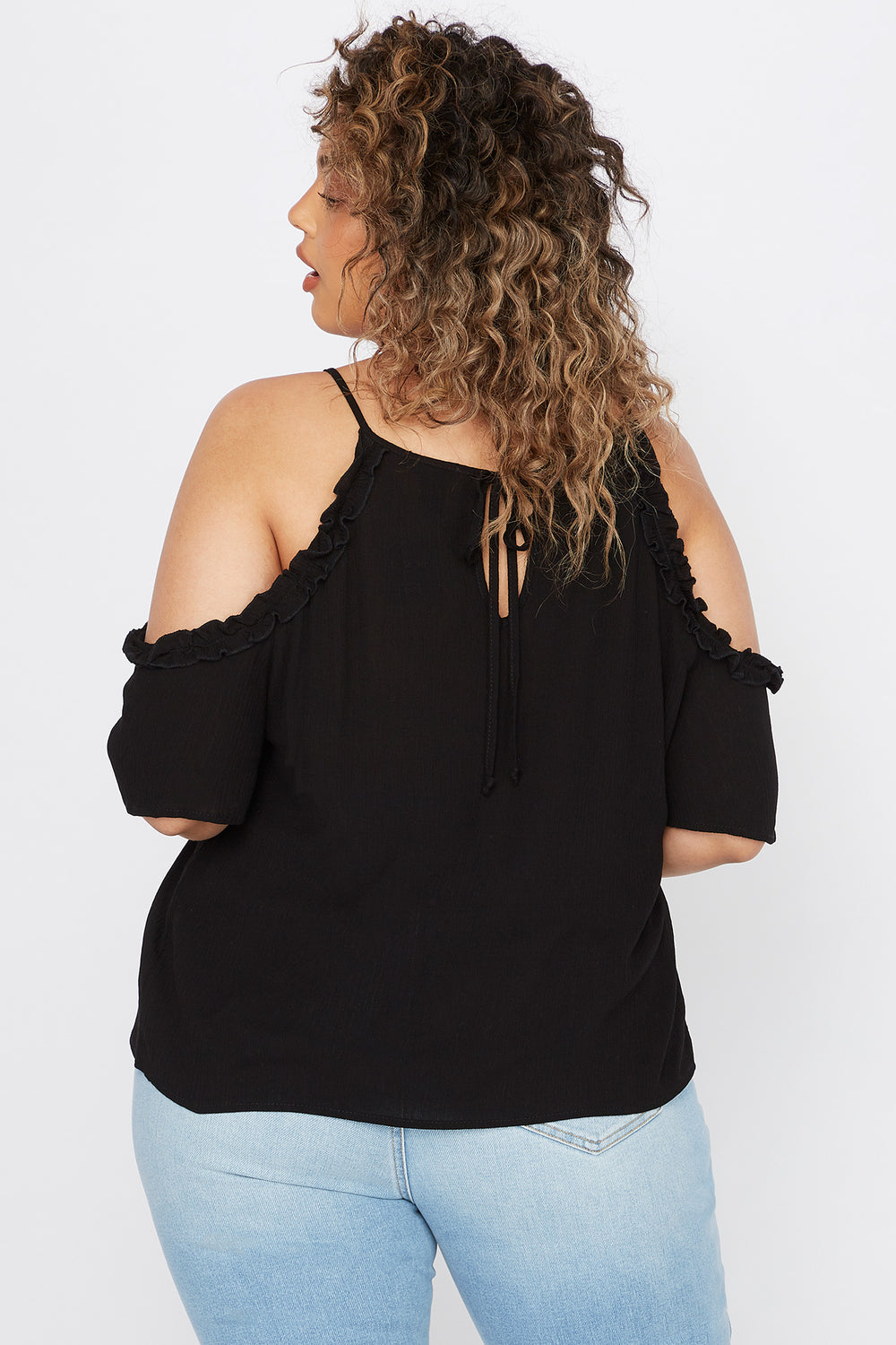 Plus Size Ruffle Hem Cold Shoulder Blouse Black