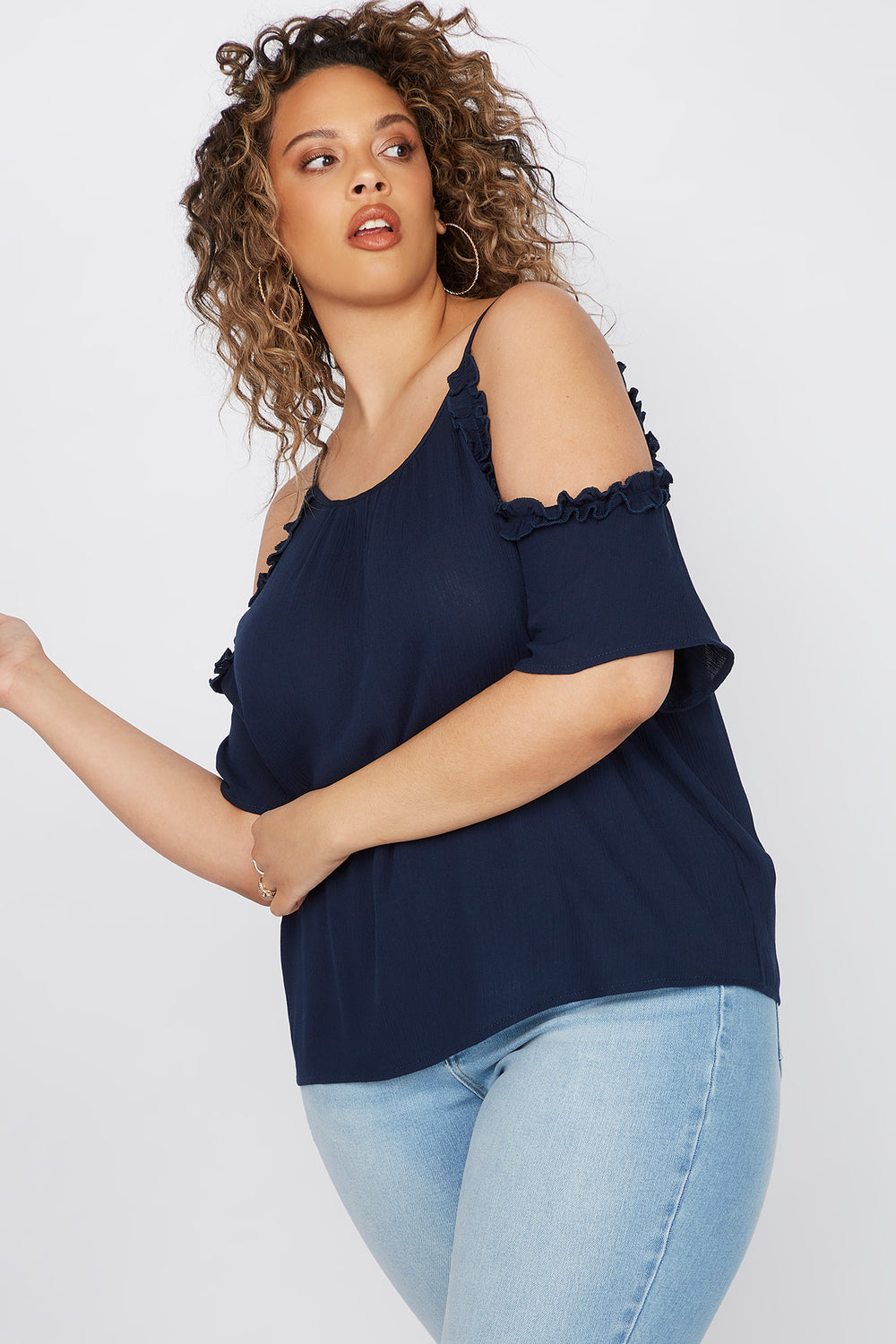 Plus Size Ruffle Hem Cold Shoulder Blouse Grey Blue