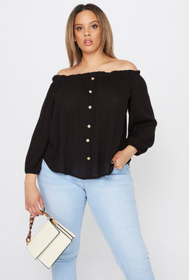 Plus Size Off The Shoulder Button Blouse