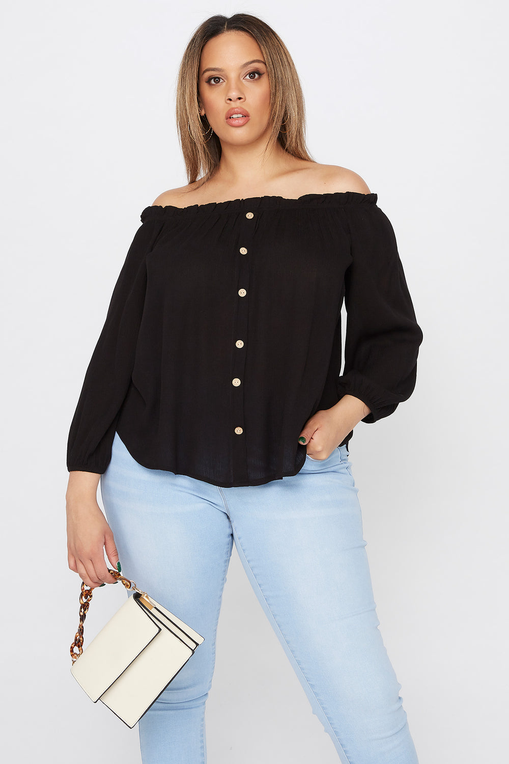 Plus Size Off The Shoulder Button Blouse Black
