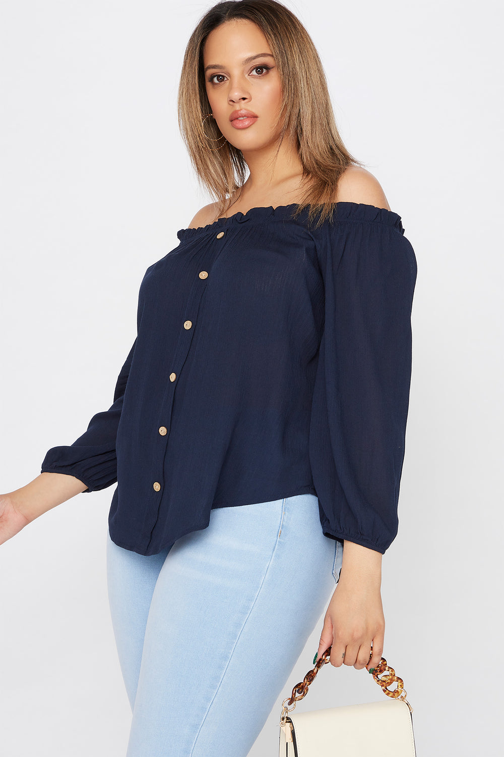 Plus Size Off The Shoulder Button Blouse Navy