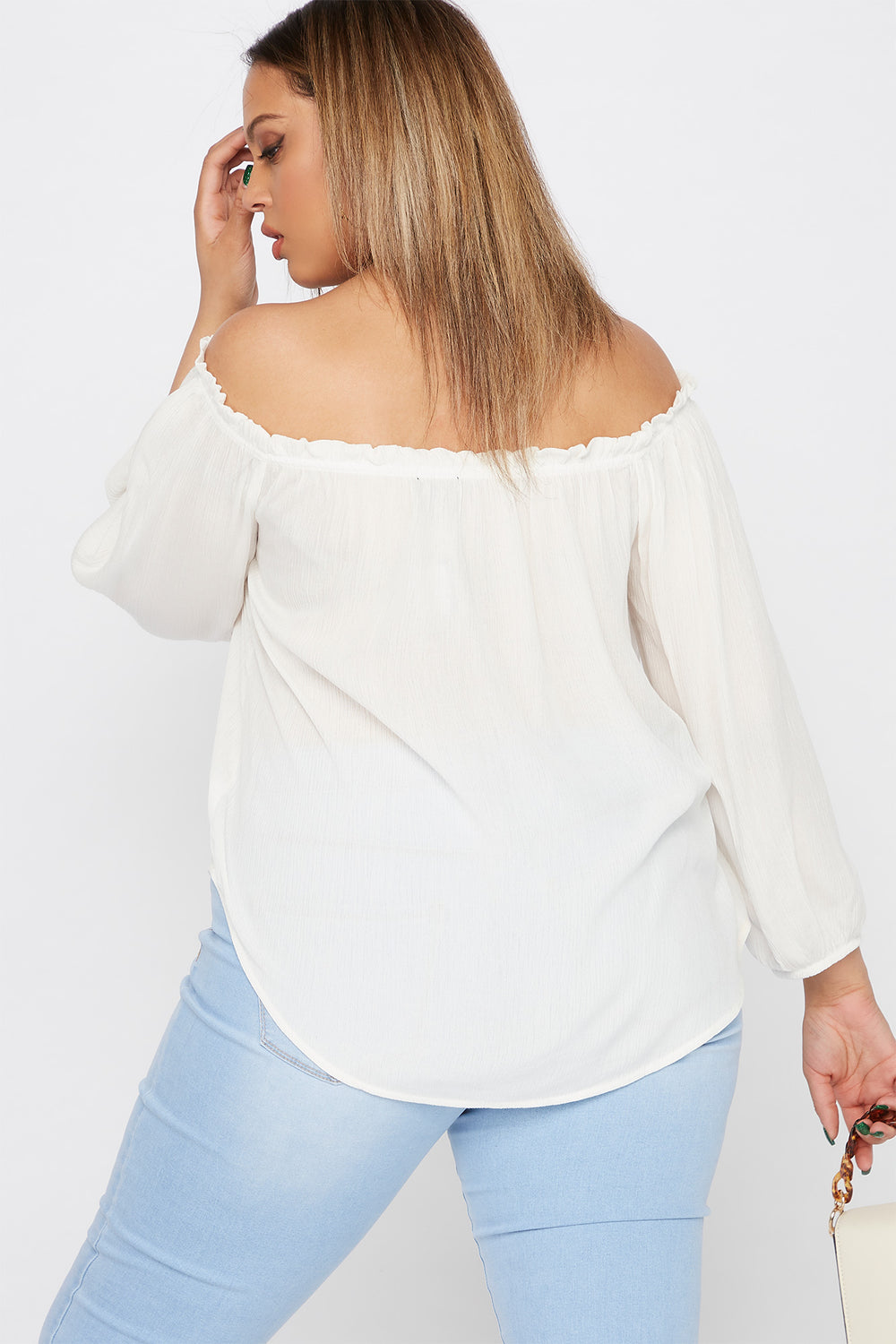 Plus Size Off The Shoulder Button Blouse Off White