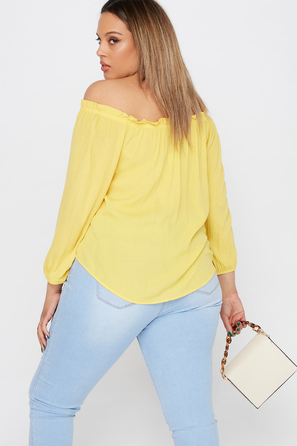 Plus Size Off The Shoulder Button Blouse Yellow