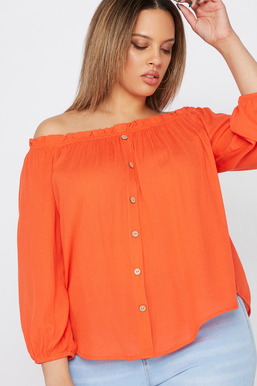 Plus Size Off The Shoulder Button Blouse Orange