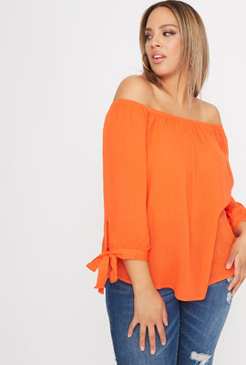 Plus Size Off the Shoulder Tie Sleeve Blouse