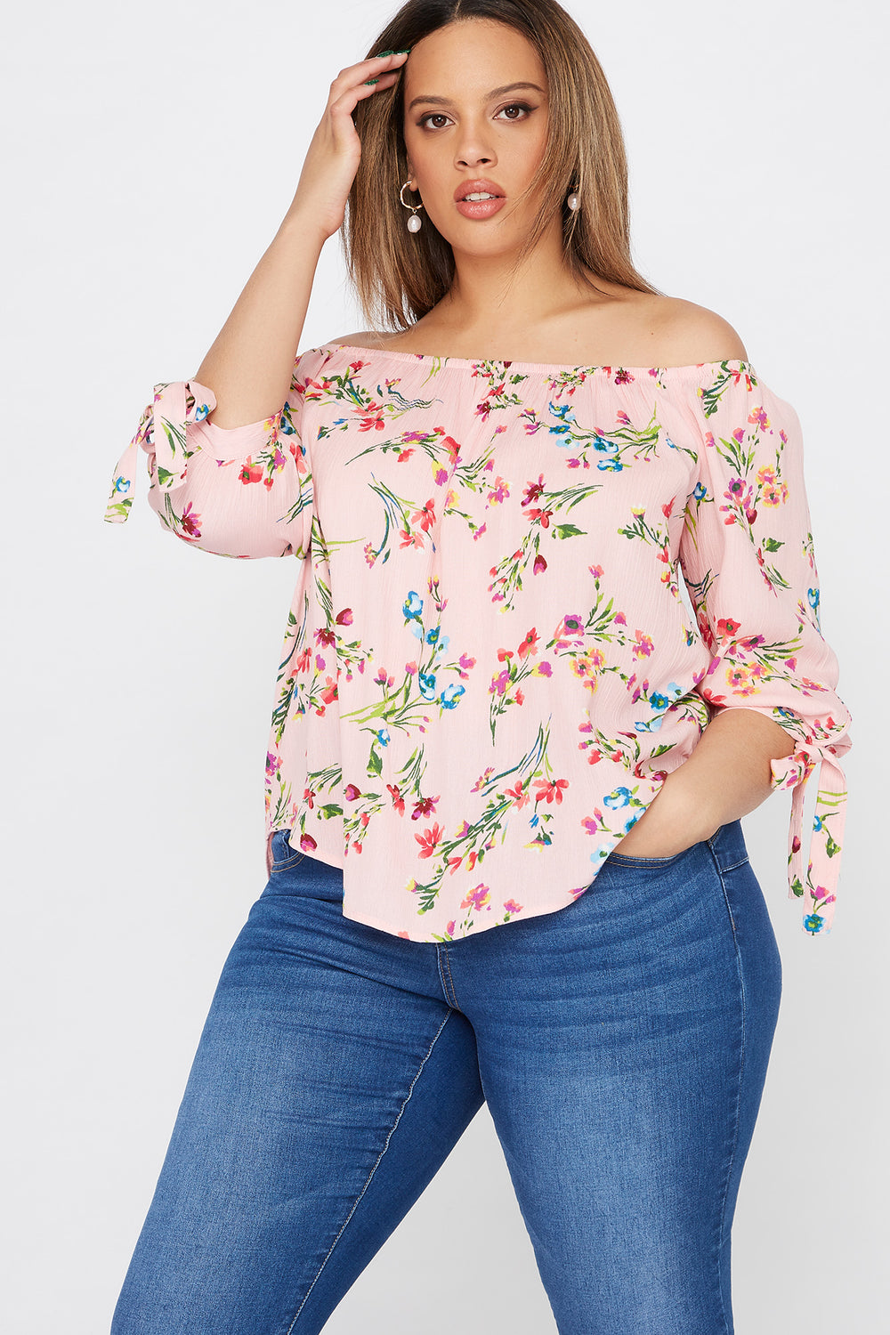 Plus Size Floral Printed Off The Shoulder Sleeve Tie Blouse Mauve