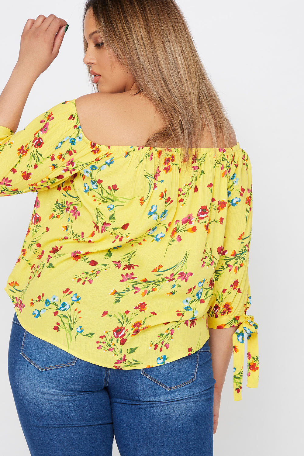 Plus Size Floral Printed Off The Shoulder Sleeve Tie Blouse Yellow