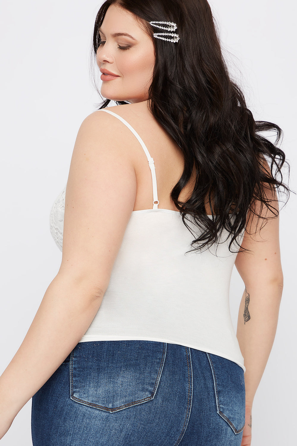 Plus Size V-Neck Crochet Cami Off White