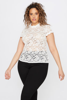 Plus Size Lace Scallop Mock Neck Blouse