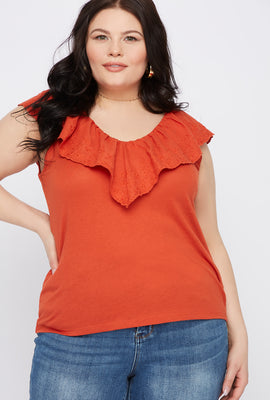 Plus Size Eyelet Trim V-Neck Top