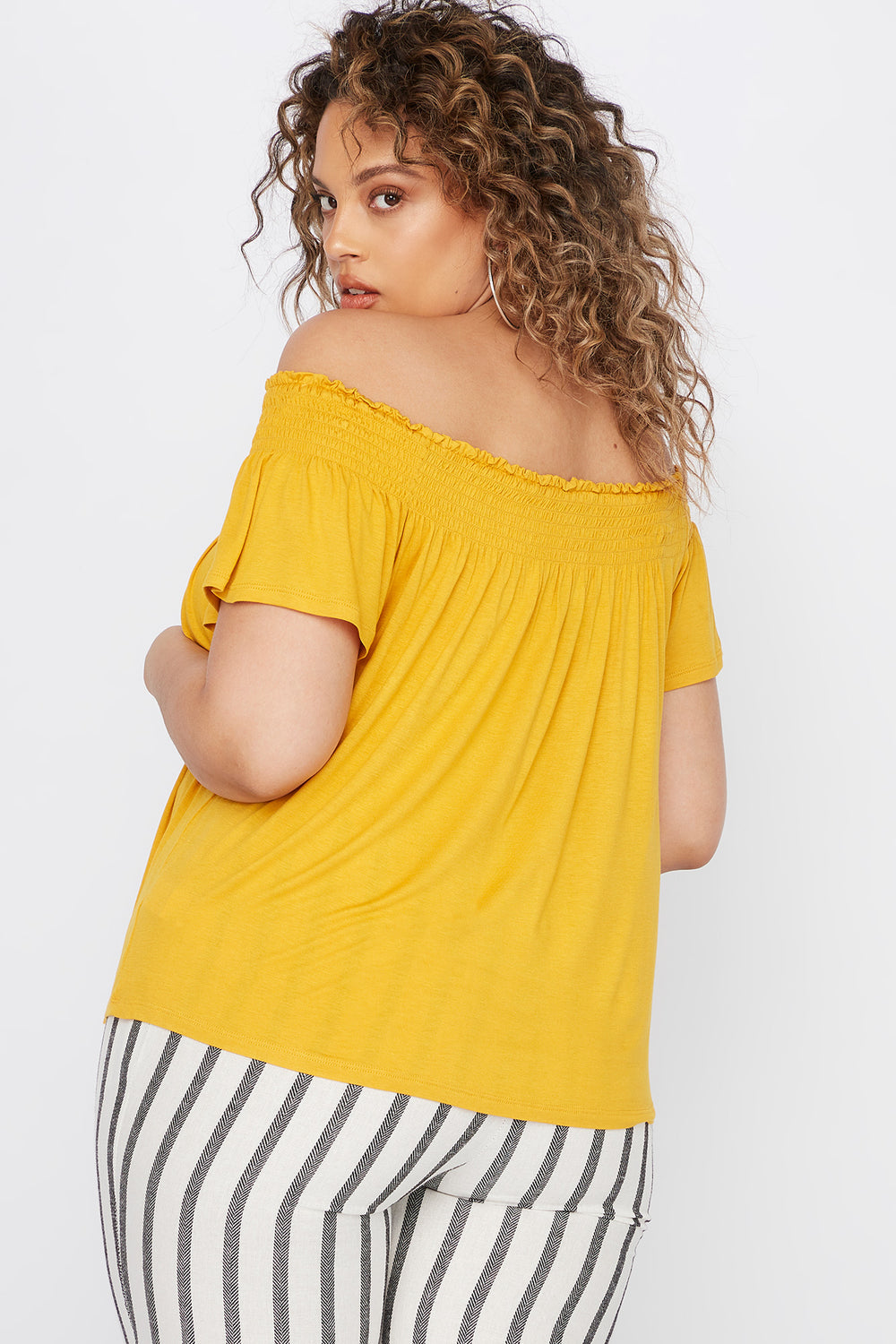 Plus Size Smocked Off The Shoulder Button Shirt Mustard