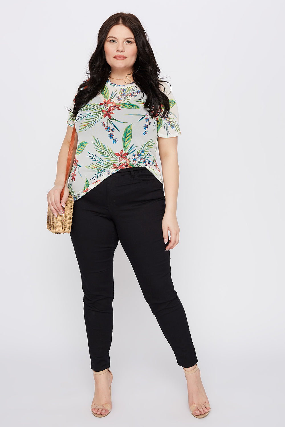 Plus Size Tropical Mesh T-Shirt Off White
