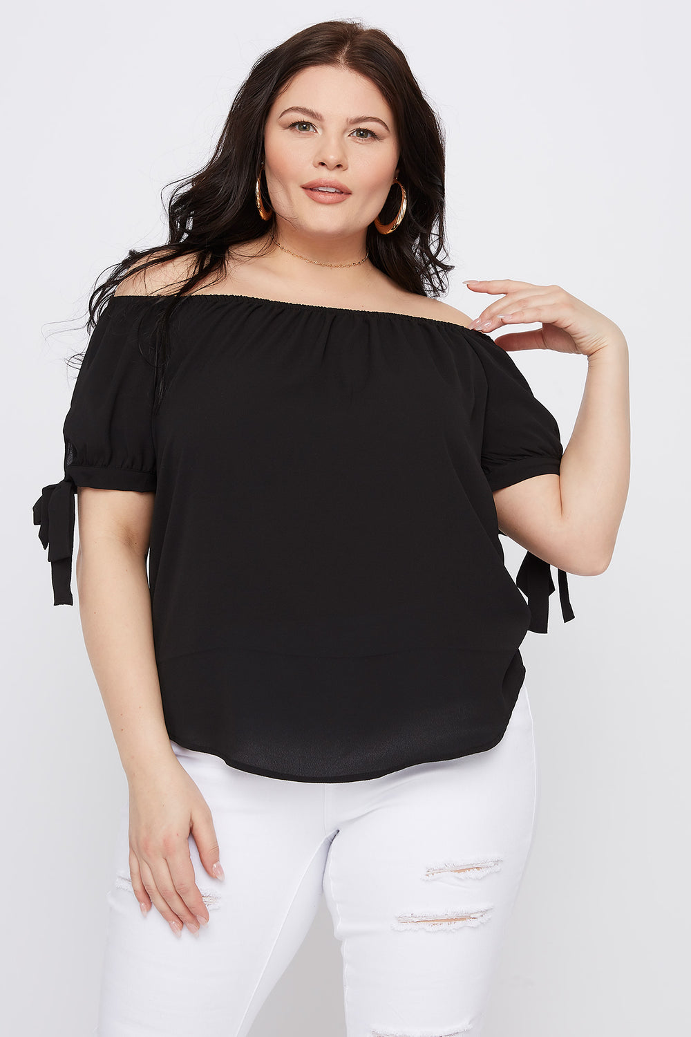 Plus Size Off The Shoulder Self Tie Sleeve Top Black