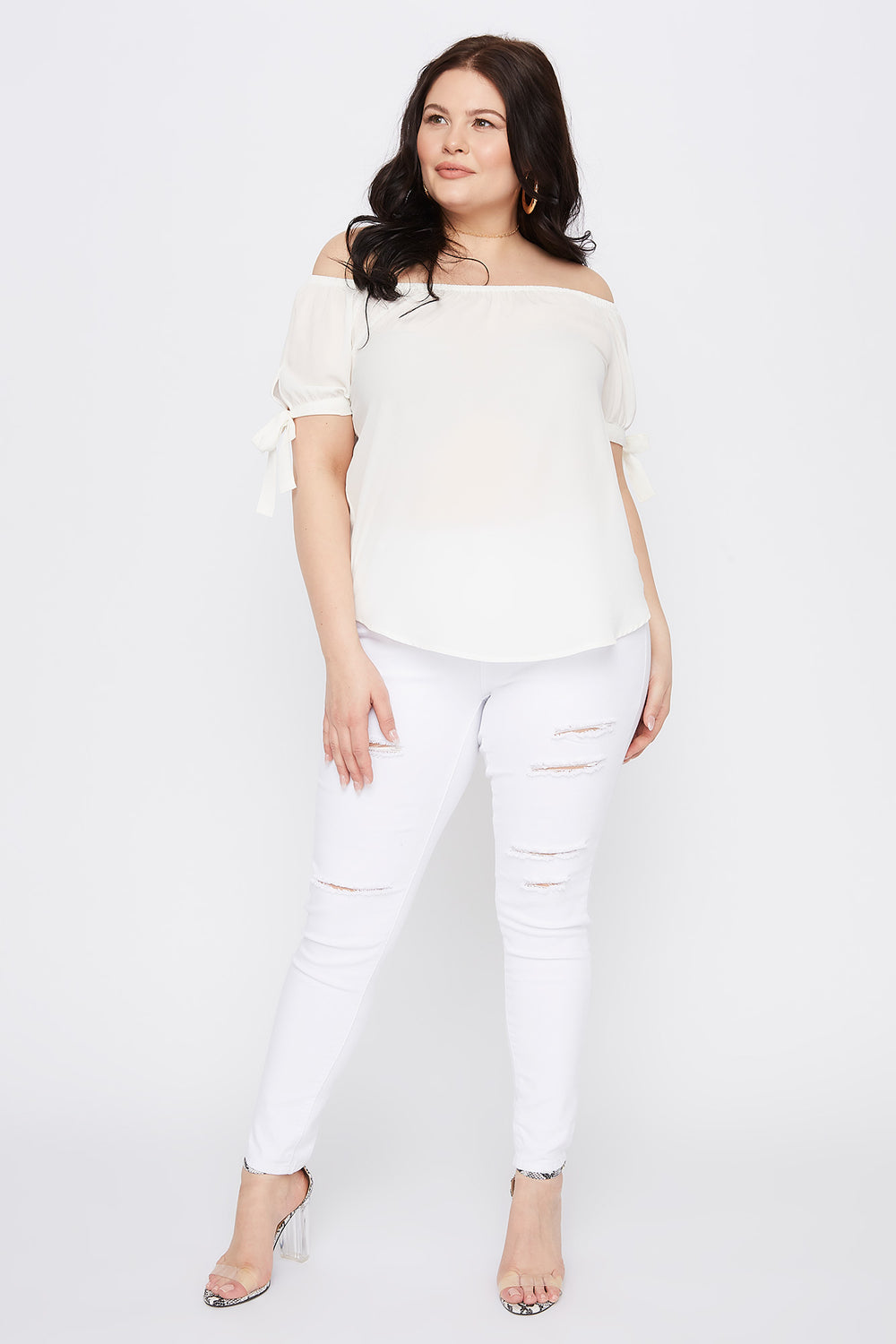 Plus Size Off The Shoulder Self Tie Sleeve Top Off White