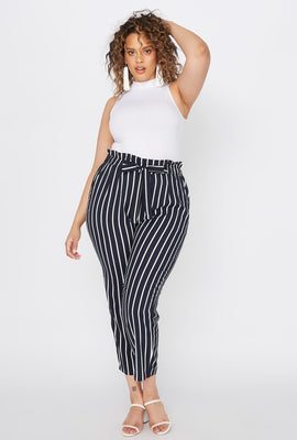 Plus Size Striped Paperbag Self Tie Cropped Pant