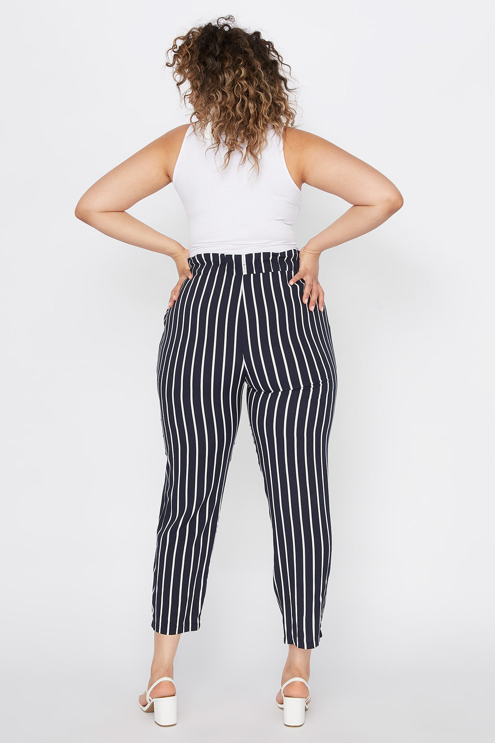 Plus Size Striped Paperbag Self Tie Cropped Pant Navy