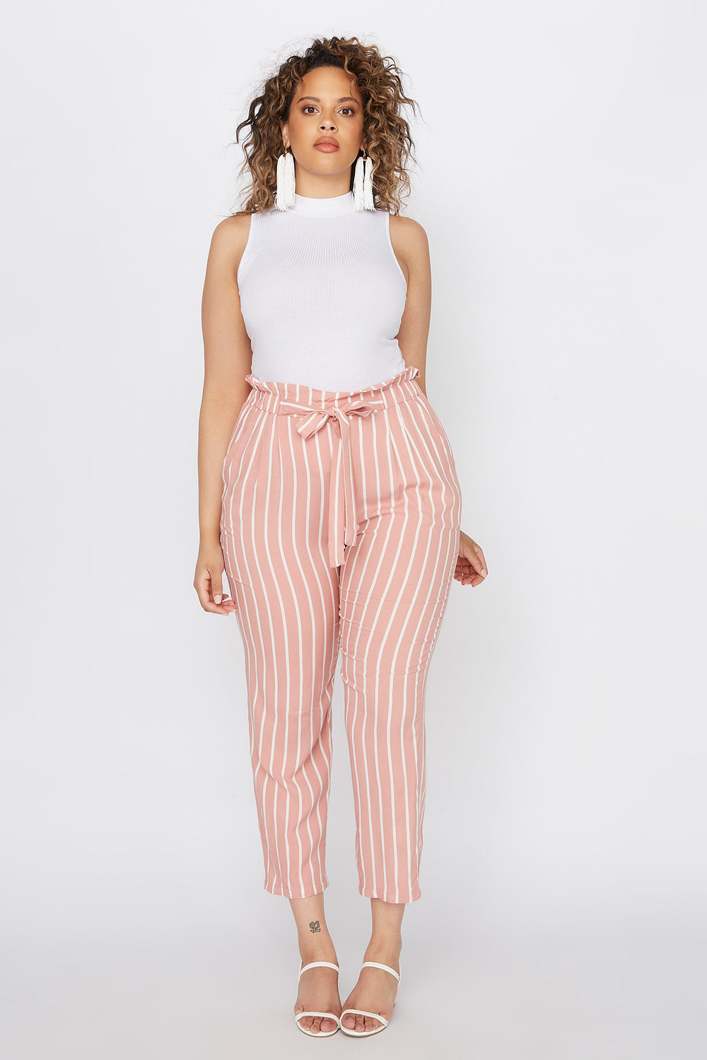 Plus Size Striped Paperbag Self Tie Cropped Pant Mauve